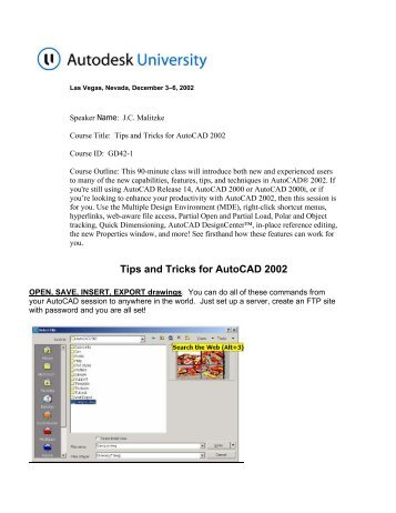 Tips And Tricks For 2002 Online Cad Doentation