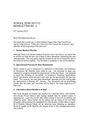 SCHOOL YEAR 2011/12 NEWSLETTER NO. 3