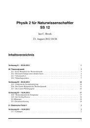 Physik 2 für Naturwissenschaftler SS 12