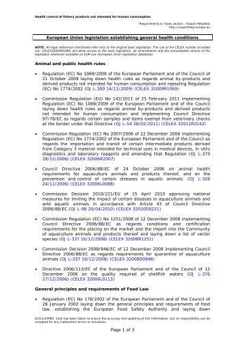 EU legislation establishing general health ... - Export Helpdesk