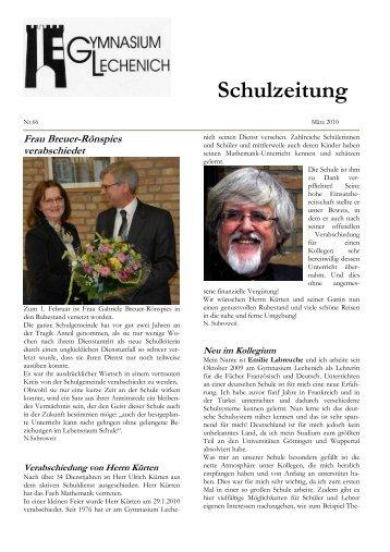Schulzeitung - Ausgabe Ostern 2010 - Gymnasium Lechenich Erftstadt
