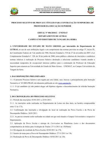Edital nº 004/2010/2 - Letras - Unemat