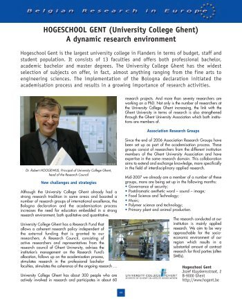 Belgian Research in Europe (2007) - University College Ghent