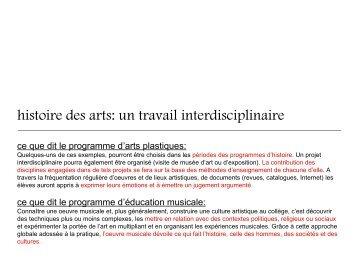 histoire des arts: un travail interdisciplinaire - Histoire géographie ...
