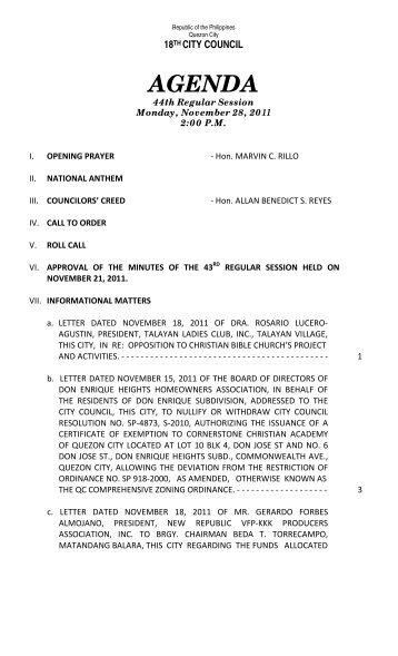 AGENDA - Quezon City Council