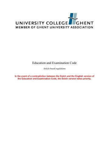 Education and Examination Code - University College Ghent