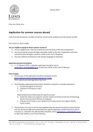 Application for summer courses abroad - Lund University