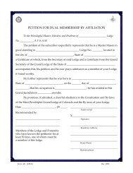 Petition for Dual Membership - Grand Lodge of Colorado