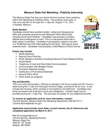 Missouri State Fair Marketing / Publicity Internship