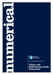 Citing and Referencing Guide: Numerical - University of Worcester