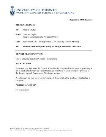 Revised Membership of Faculty Standing Committees, 2012-2013