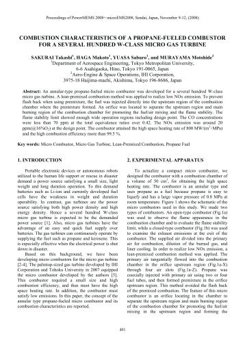 combustion characteristics of a propane-fueled combustor for a ...