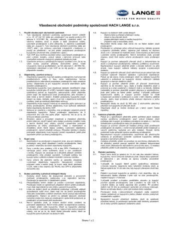Obchodní a dodací podmínky - Hach Lange