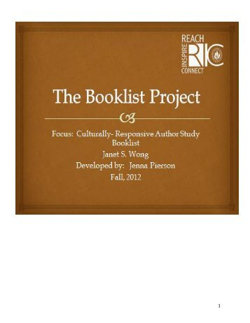 Wong, Janet S. Author Study Booklist by Jenna Pierson for ... - RITELL