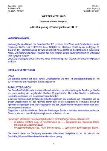 WERTERMITTLUNG in 86163 Augsburg – Friedberger Strasse 144 ...