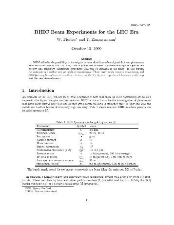 RHIC Beam Experiments for the LHC Era - Collider-Accelerator ...