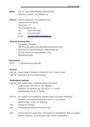 Curriculum Vitae Name Prof. Dr. med. Markus Theodor Golling ...