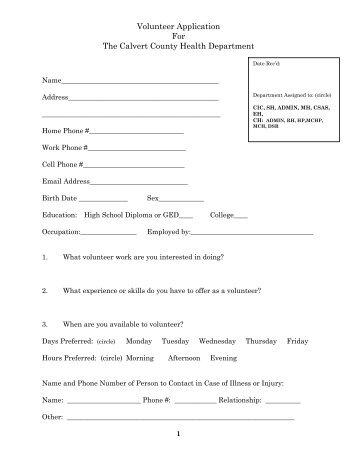 Calvert County Building Permit Application
