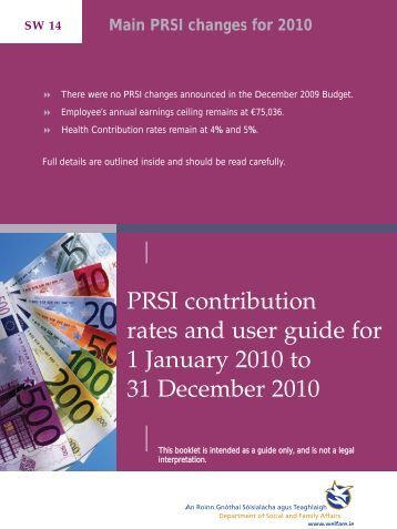 PRSI Contribution Rates and User Guide 2010 - Welfare.ie