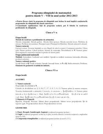 Programa olimpiadei de matematică pentru clasele V – VIII ... - SSMR