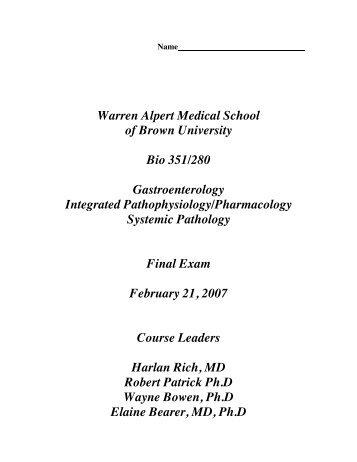 2007 GI exam answers - Alpert Medical School - Brown University