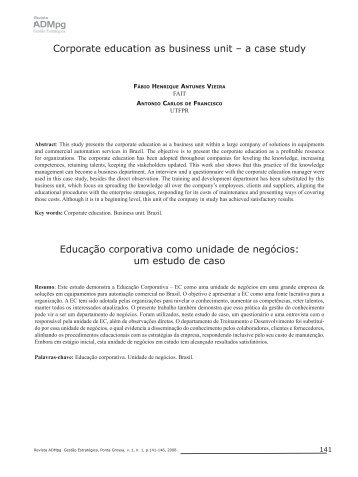 Corporate education as business unit – a case study Educação ...