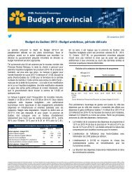 Budget du Québec 2013 : Budget ambitieux, période délicate - VMBL