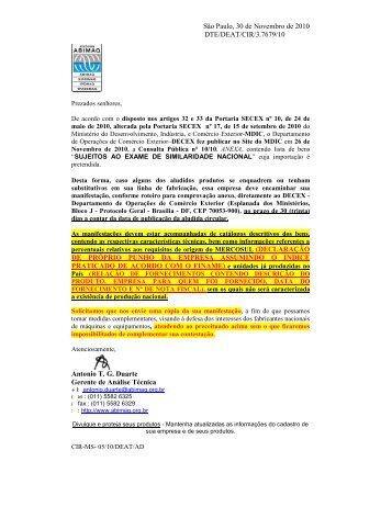 consulta pública nº 10 de 26/11/2010 exame da similaridade - Abimaq