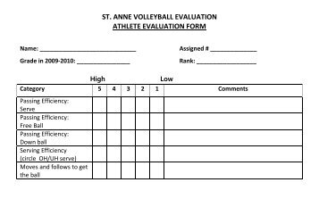 St. Anne Volleyball Evaluation Form