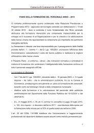 Piano della Formazione del Personale anno 2013 - Camera di ...