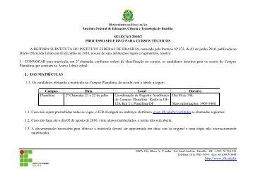 Edital Técnicos IFB 2010-02 Resultado Sorteio 2a chamada ...