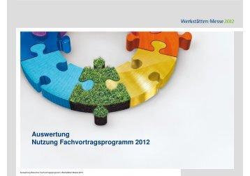 Auswertung Nutzung Fachvortragsprogramm2012 - Werkstätten ...
