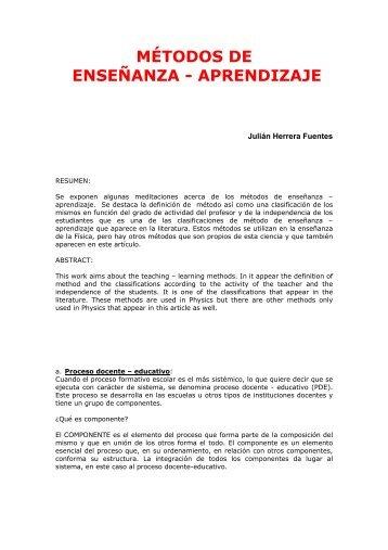 MÉTODOS DE ENSEÑANZA - APRENDIZAJE - Casanchi