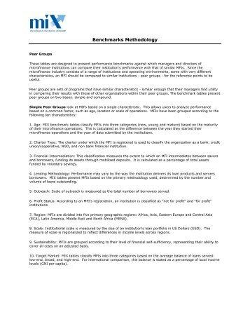 Methodology For Benchmarks And Trendlines - Microfinance ...
