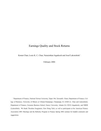 Earnings Quality and Stock Returns