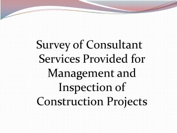Consultant Inspection / Administration Survey Results
