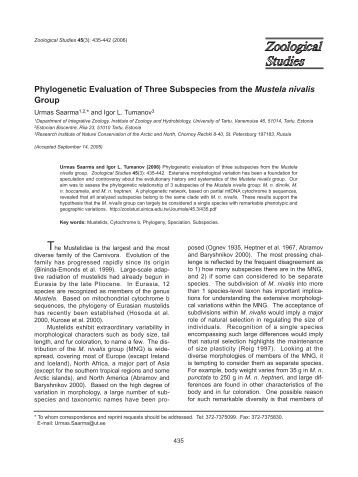 Phylogenetic Evaluation of Three Subspecies from the Mustela ...