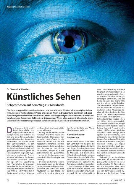 Künstliches Sehen - Netzhaut-Selbsthilfe.de