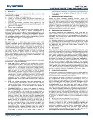 DYNETICS, INC. PURCHASE ORDER TERMS AND CONDITIONS 1