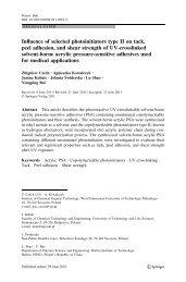 Influence of selected photoinitiators type II on tack, peel adhesion ...
