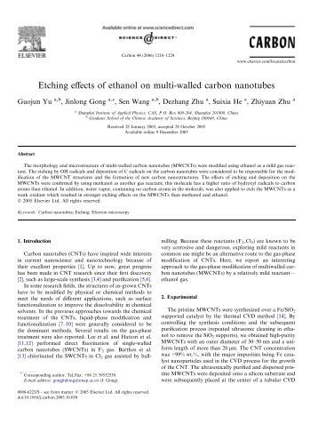 Effects of multi walled carbon nanotubes mwcnts