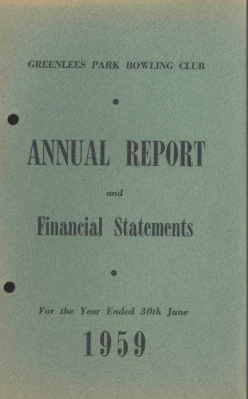 Greenlees Park Bowling Club Annual Reports 1959 - Briars at ...