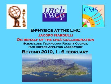 B-physics at the LHC Beyond 2010, 1 - 6 february