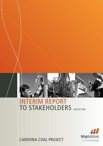 INTERIM REPORT TO STAKEHOLDERS AUGUST 2008 - BHP Billiton