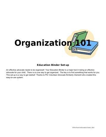 Organization 101 - Parent Information Center on Special Education