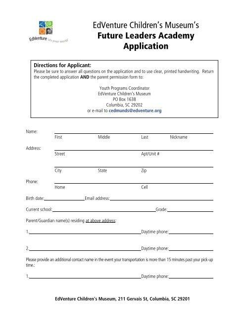 EdVenture Children's Museum's Future Leaders Academy Application