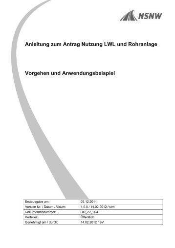 Anleitung zum Antrag Nutzung LWL und Rohranlage ... - BSA - NSNW
