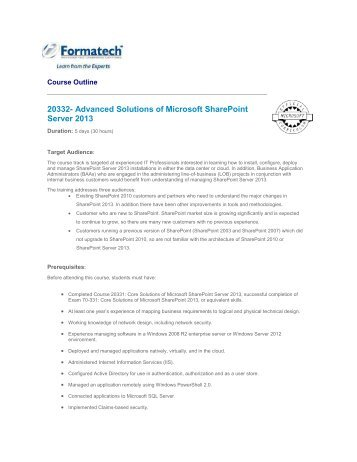 Advanced Solutions of Microsoft SharePoint Server ... - Formatech