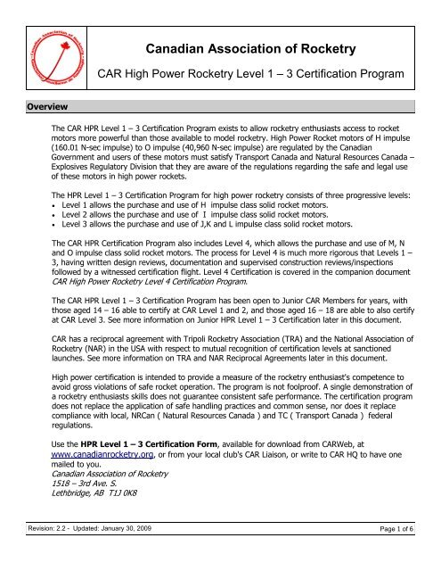 CAR Level 1-3 Certification Process ( pdf format) - CARWeb