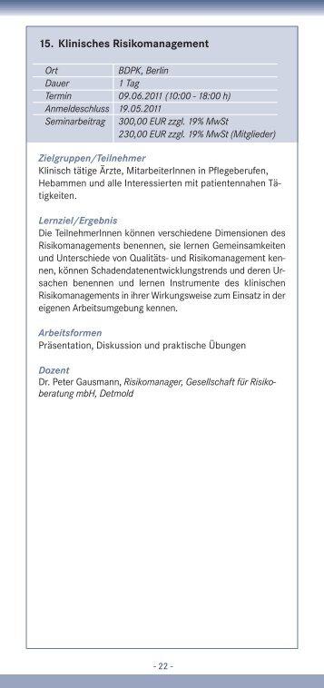 15. Klinisches Risikomanagement - IQMG Institut für ...